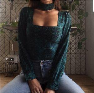 Stone Cold Fox Green Carpet Blouse Choker Top